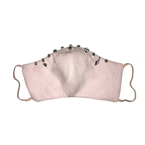 Bejewelled Face Mask Pale Pink