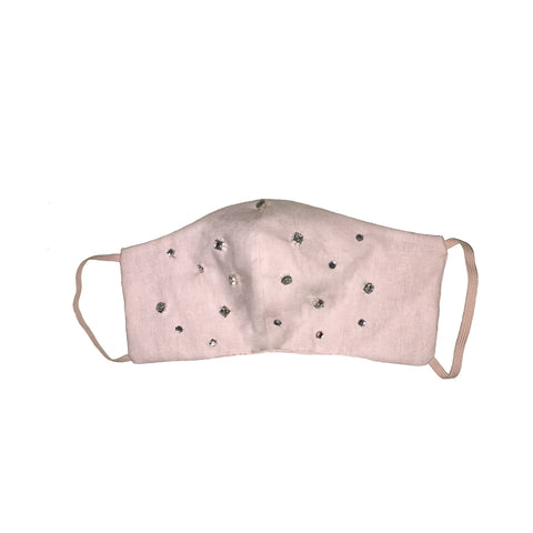 Bejewelled Face Mask Pale Pink all over jewel 2