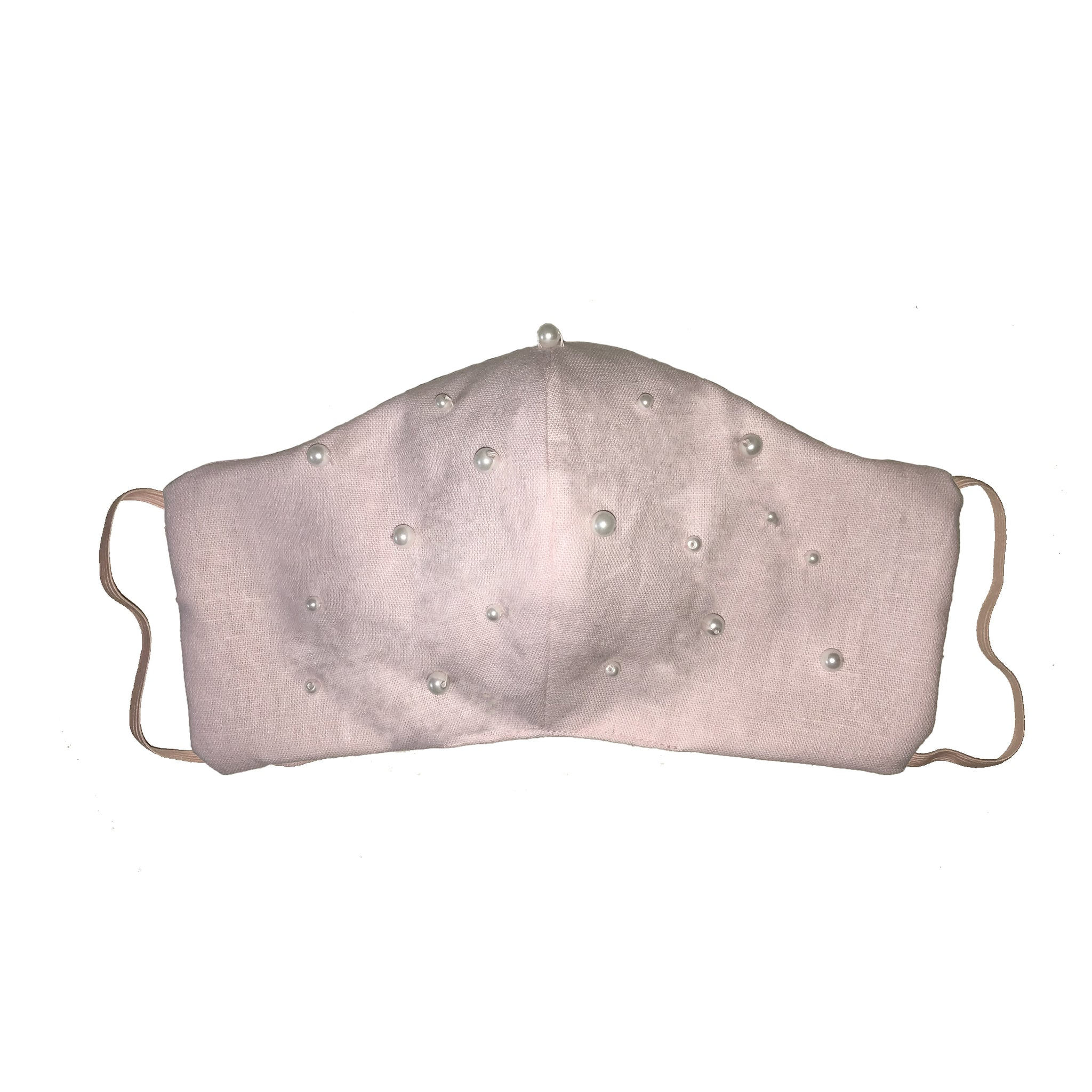 Pearl Encrusted Face Mask Pale Pink