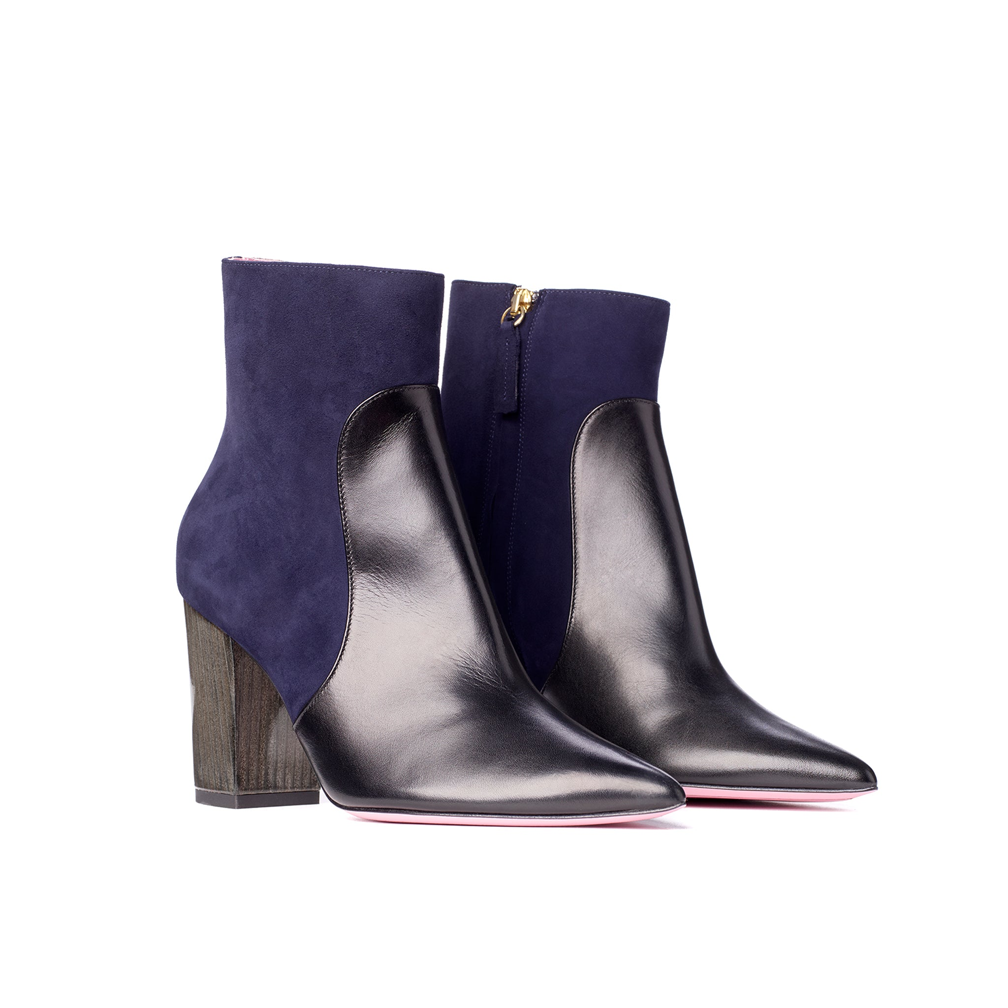 Phare Pointed block heel boot in navy suede and black leather 3/4 view