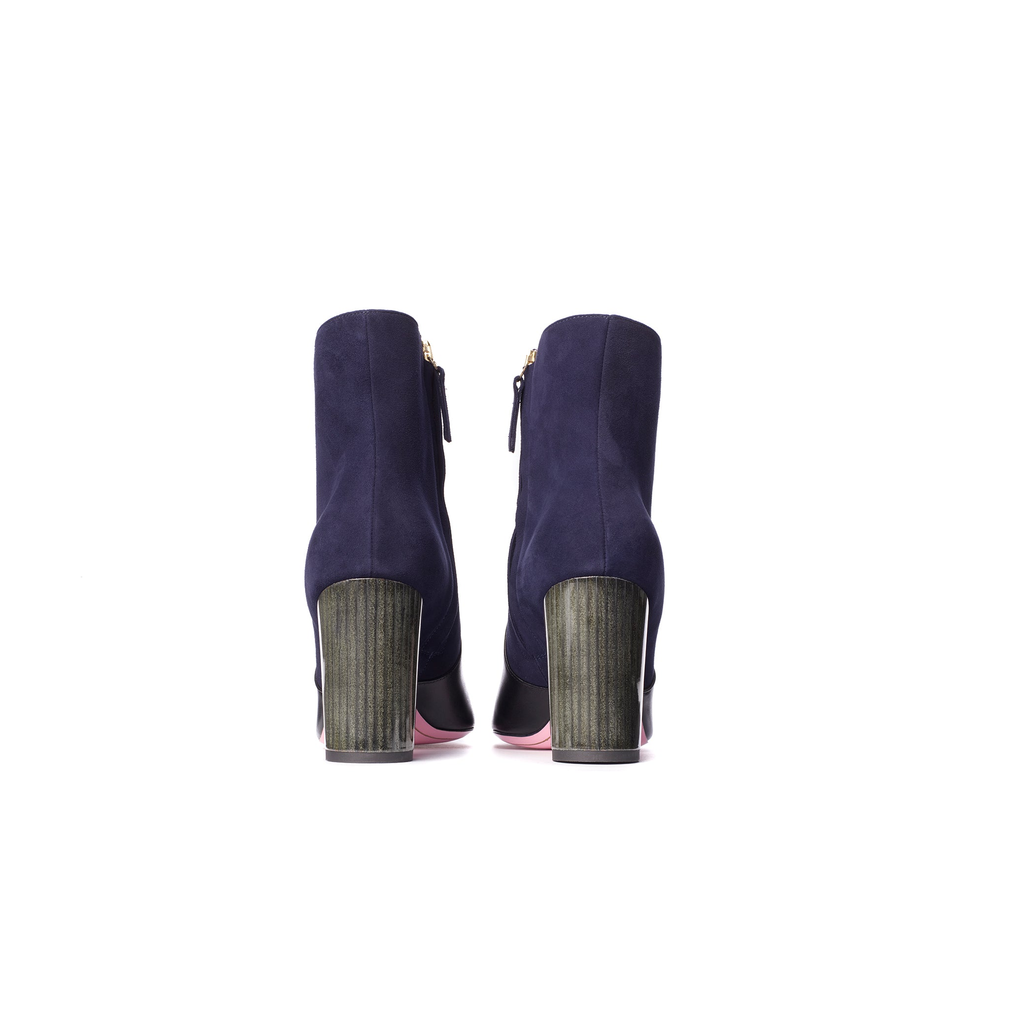 Phare Pointed block heel boot in navy suede and black leather back view