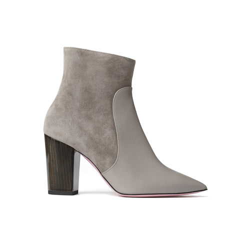 Phare Pointed block heel boot in cemento suede and leather made in Italy