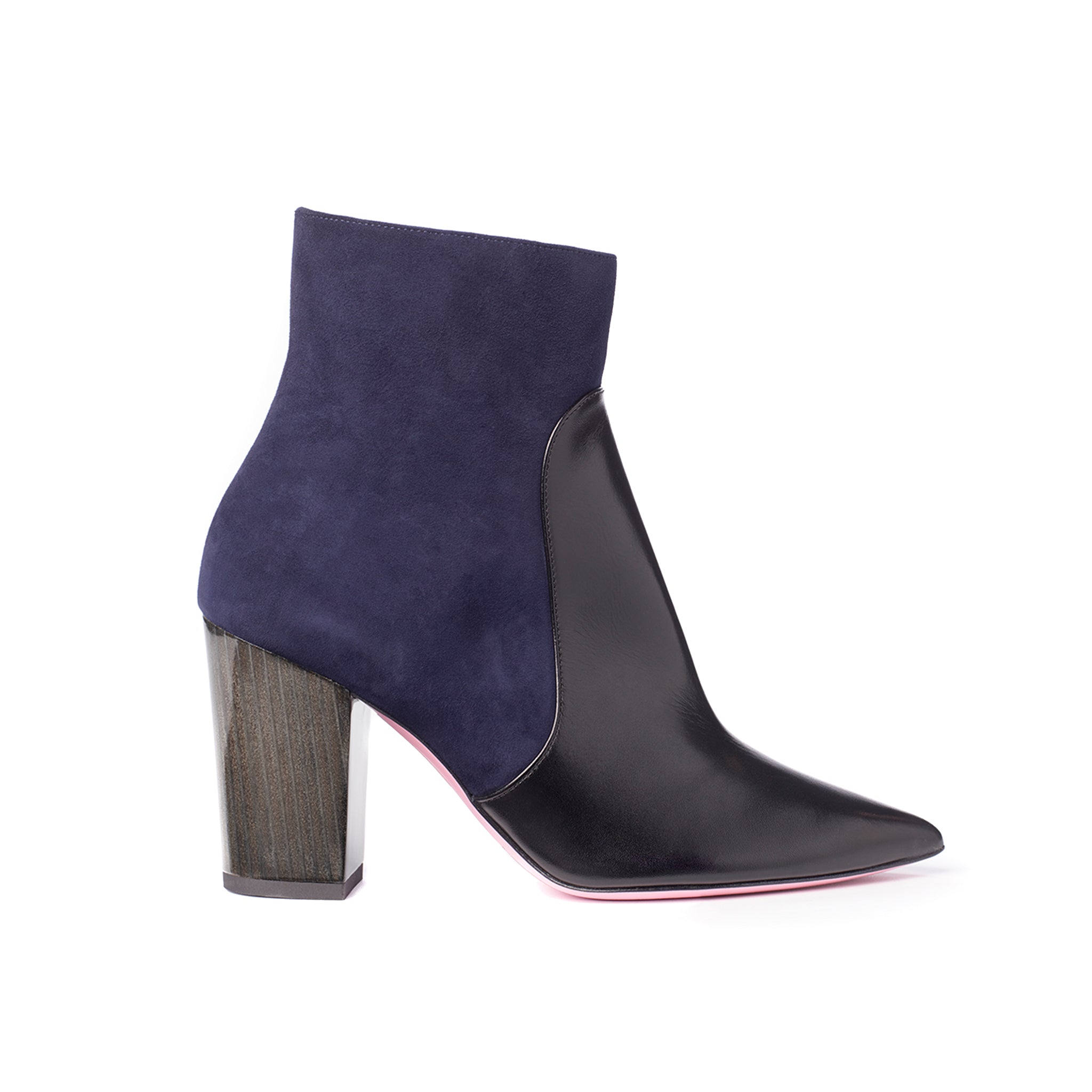 Phare Pointed block heel boot in navy suede and black leather made in Italy