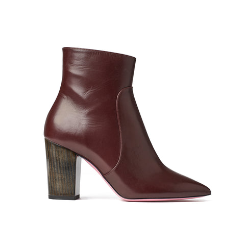 Phare Pointed block heel boot in bordeaux leather made in Italy