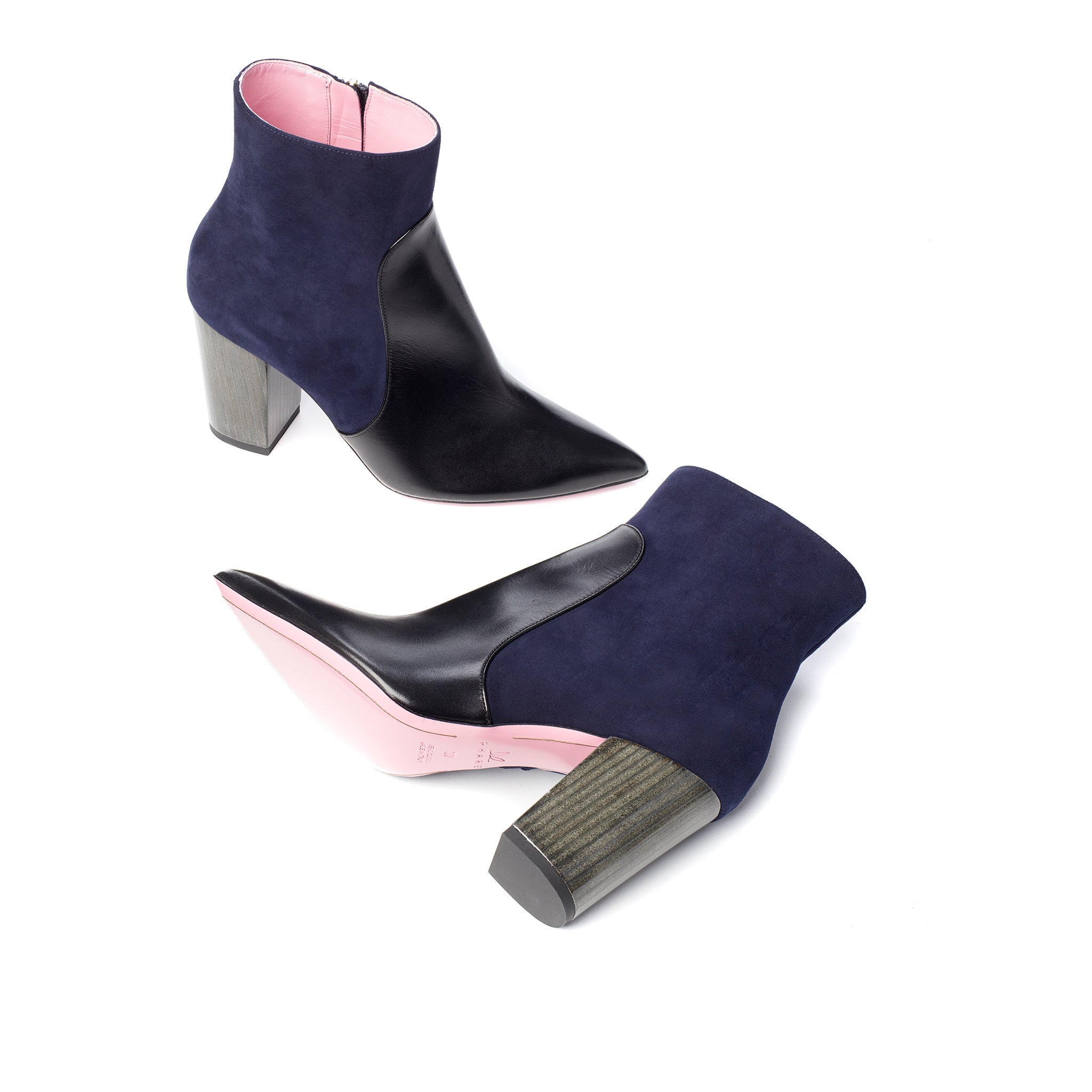 Phare Pointed block heel boot in navy suede and black leather sole view