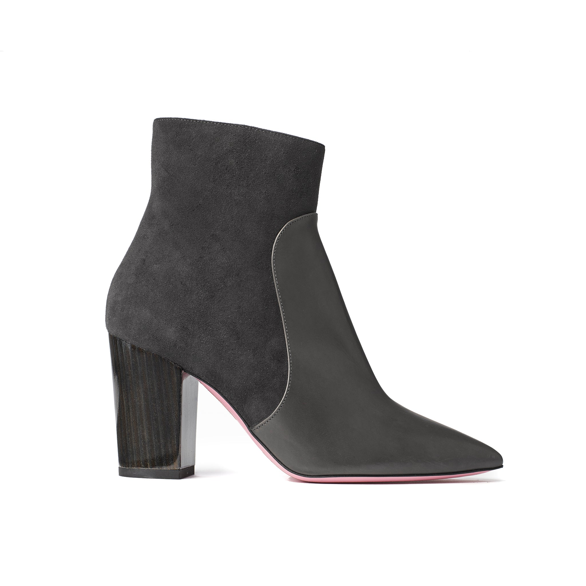 Phare Pointed block heel boot in carbone suede and leather made in Italy