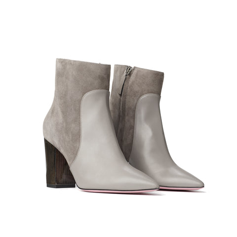 Phare Pointed block heel boot in cemento suede and leather made in Italy 3/4 view