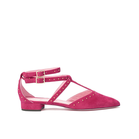 Phare Studded pointed flat in azalea suede with gold studs