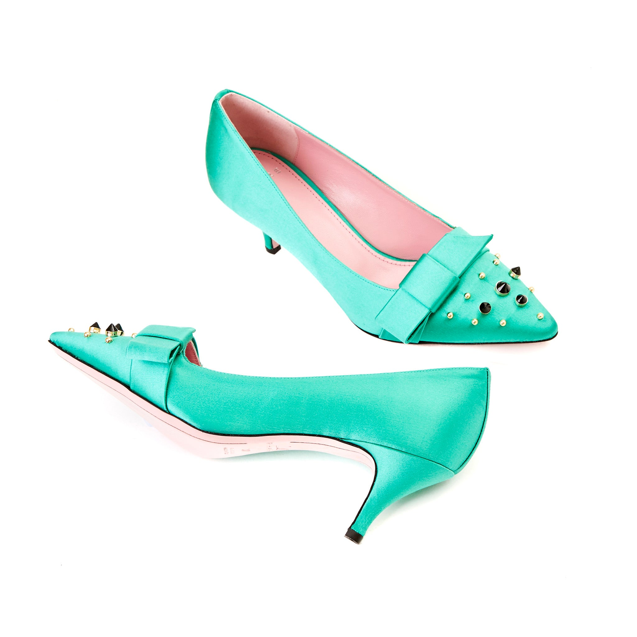 Phare studded kitten heel in verde silk satin with black and gold studs sole view