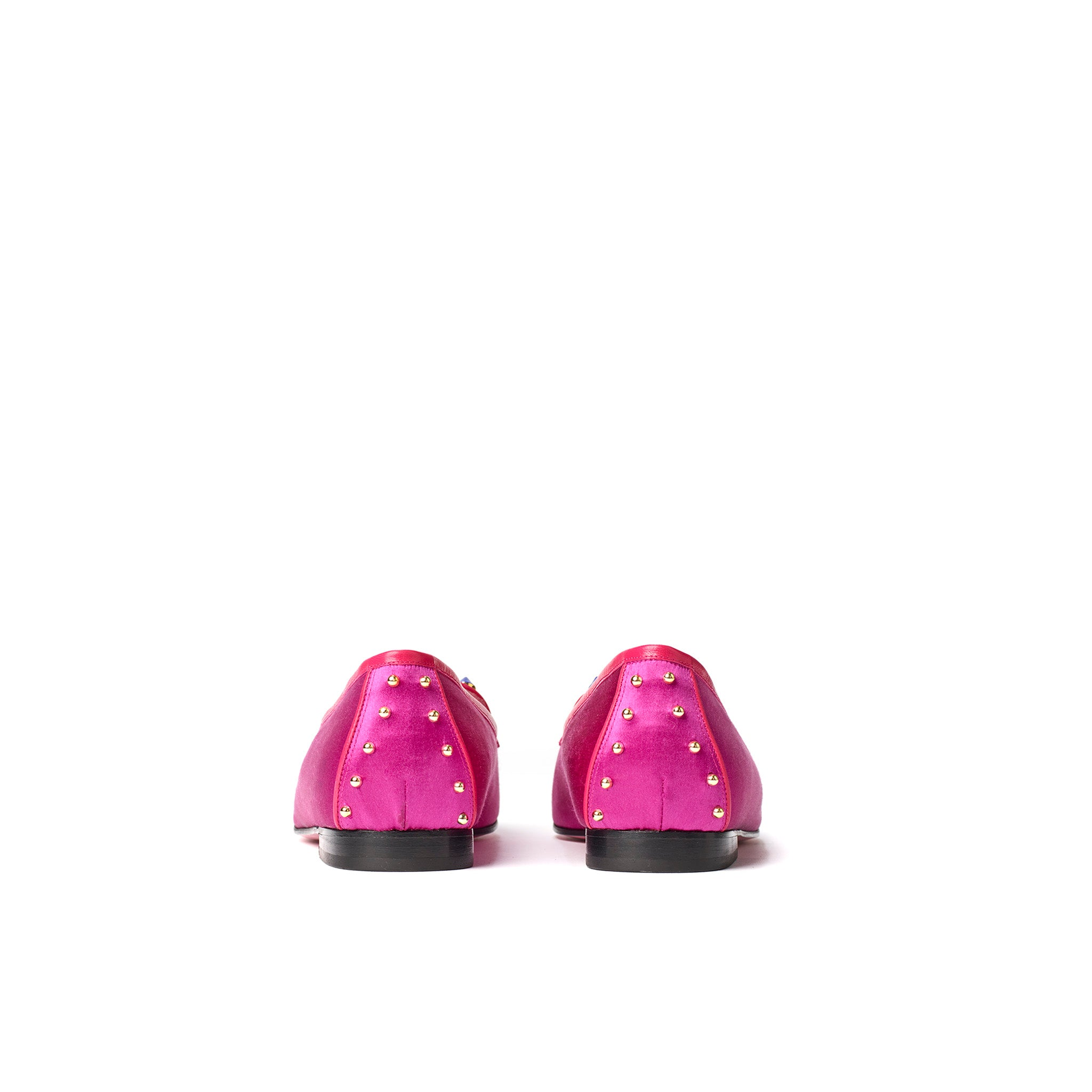 Phare Studded loafer in magenta silk satin with blue and gold studs top view