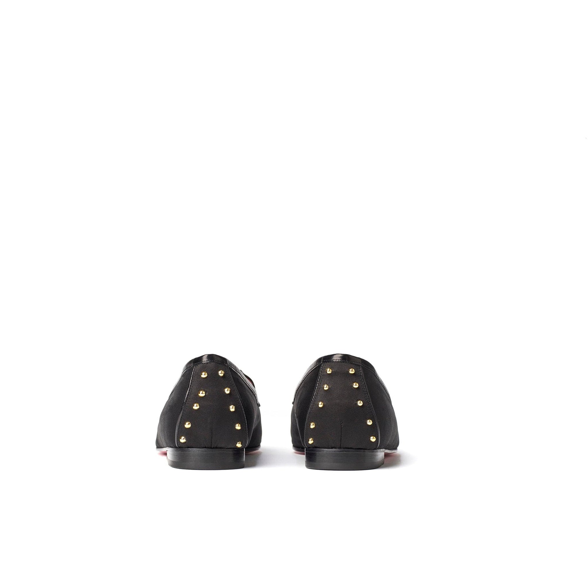 Phare studded loafer in black silk satin with black gold studs top view