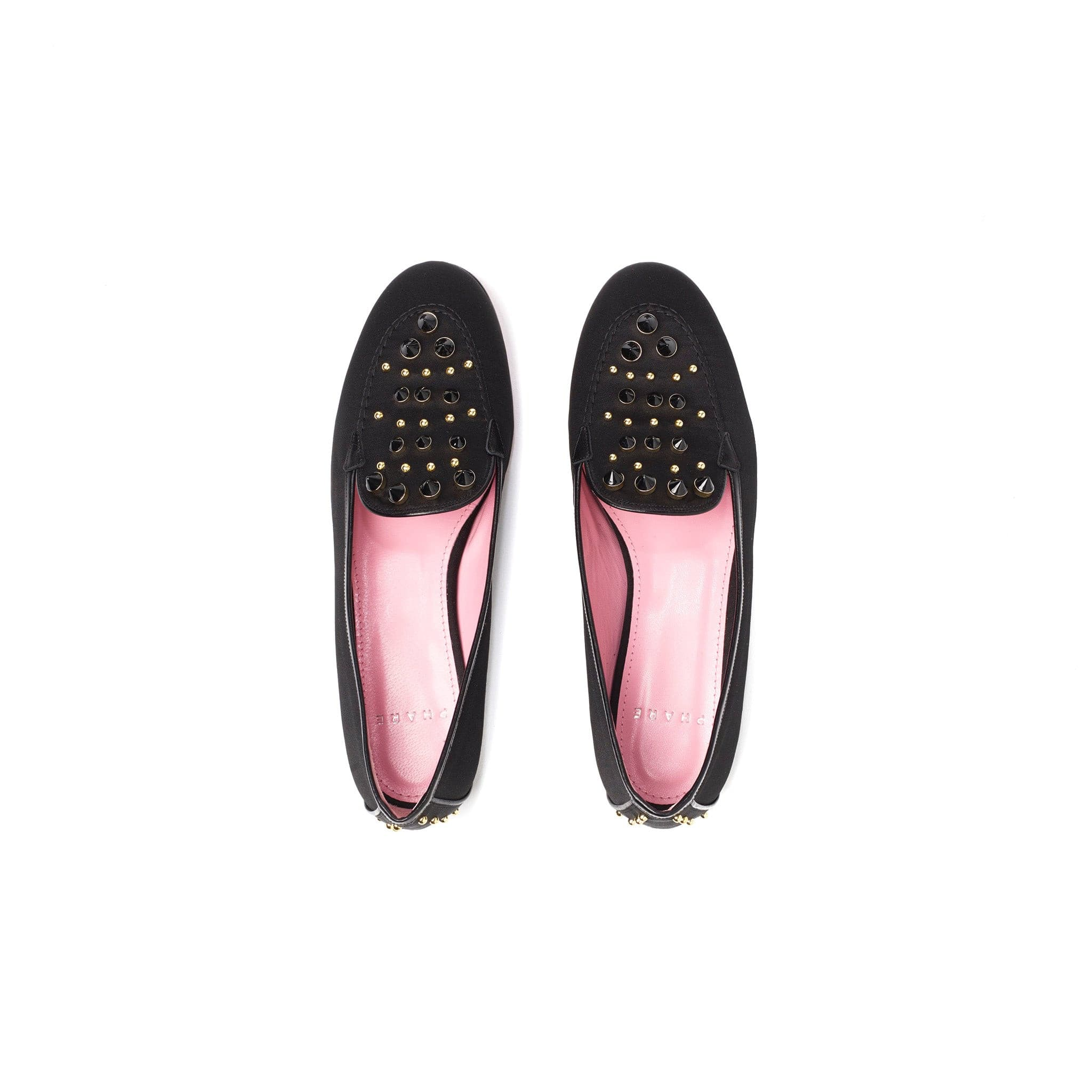 Phare studded loafer in black silk satin with black gold studs back view