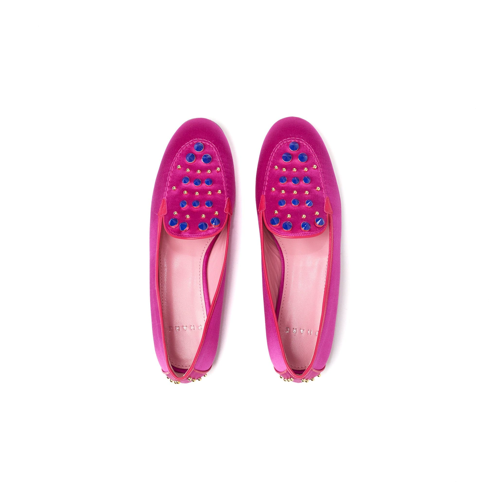 Phare Studded loafer in magenta silk satin with blue and gold studs back view