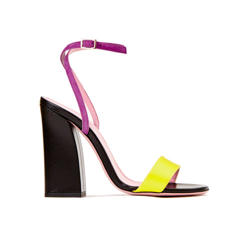 Tri Colour Block Heel Sandal