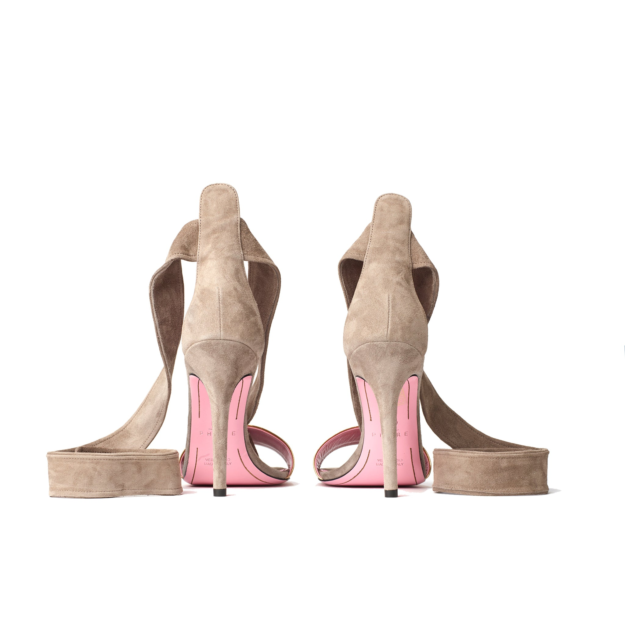 Phare Ankle tie stiletto in taupe suede back view