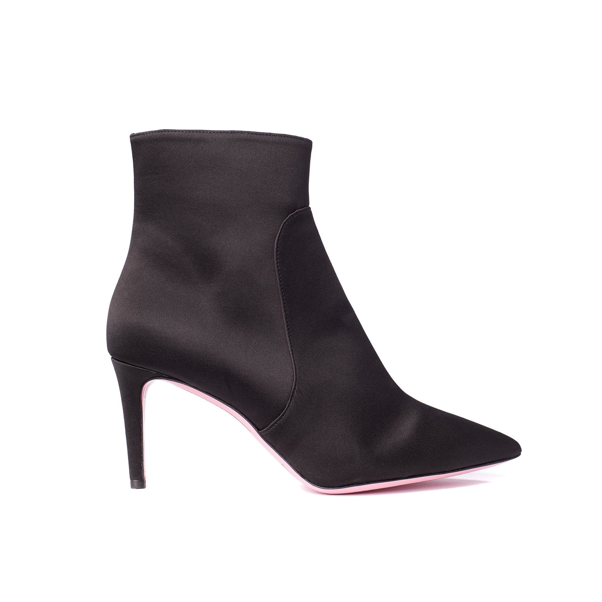 Phare  pointed claasic high heel boot in black silk satin, made in Italy