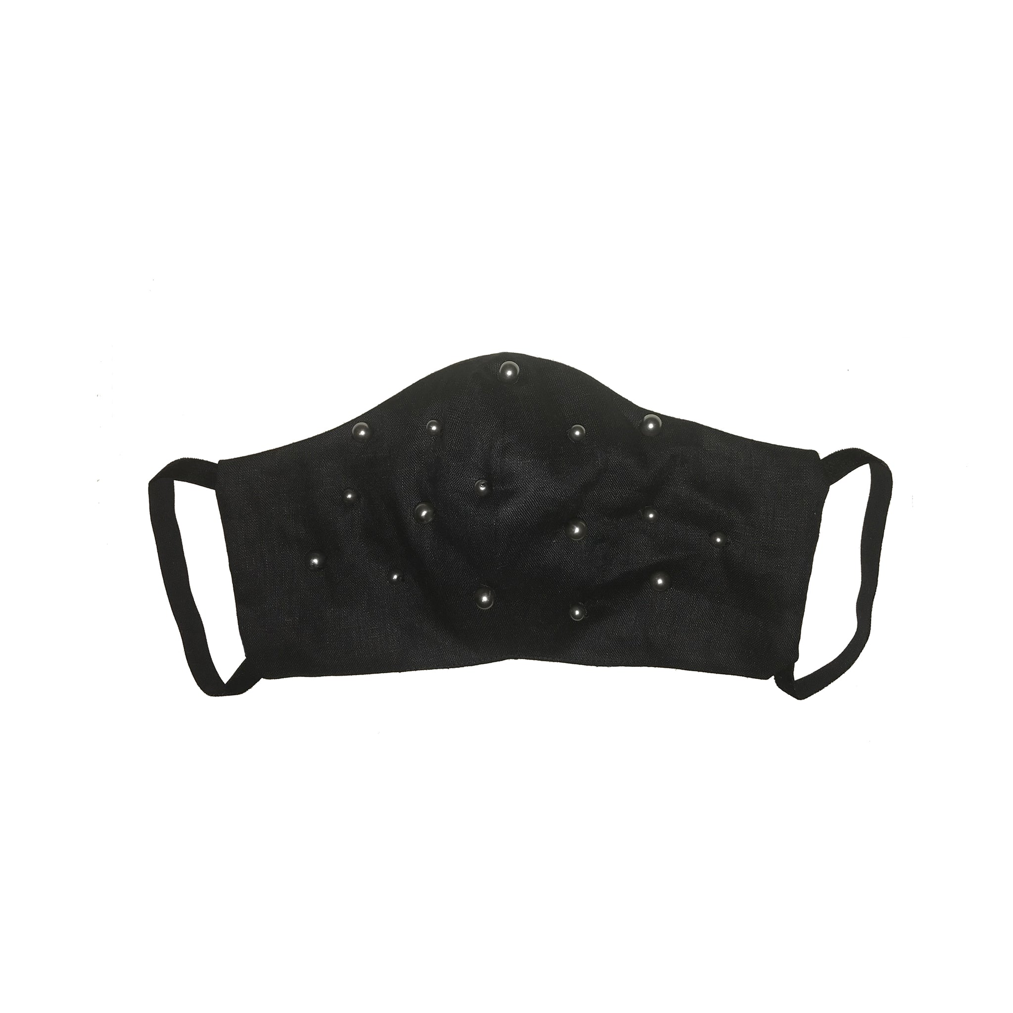 Pearl Encrusted Face Mask Black