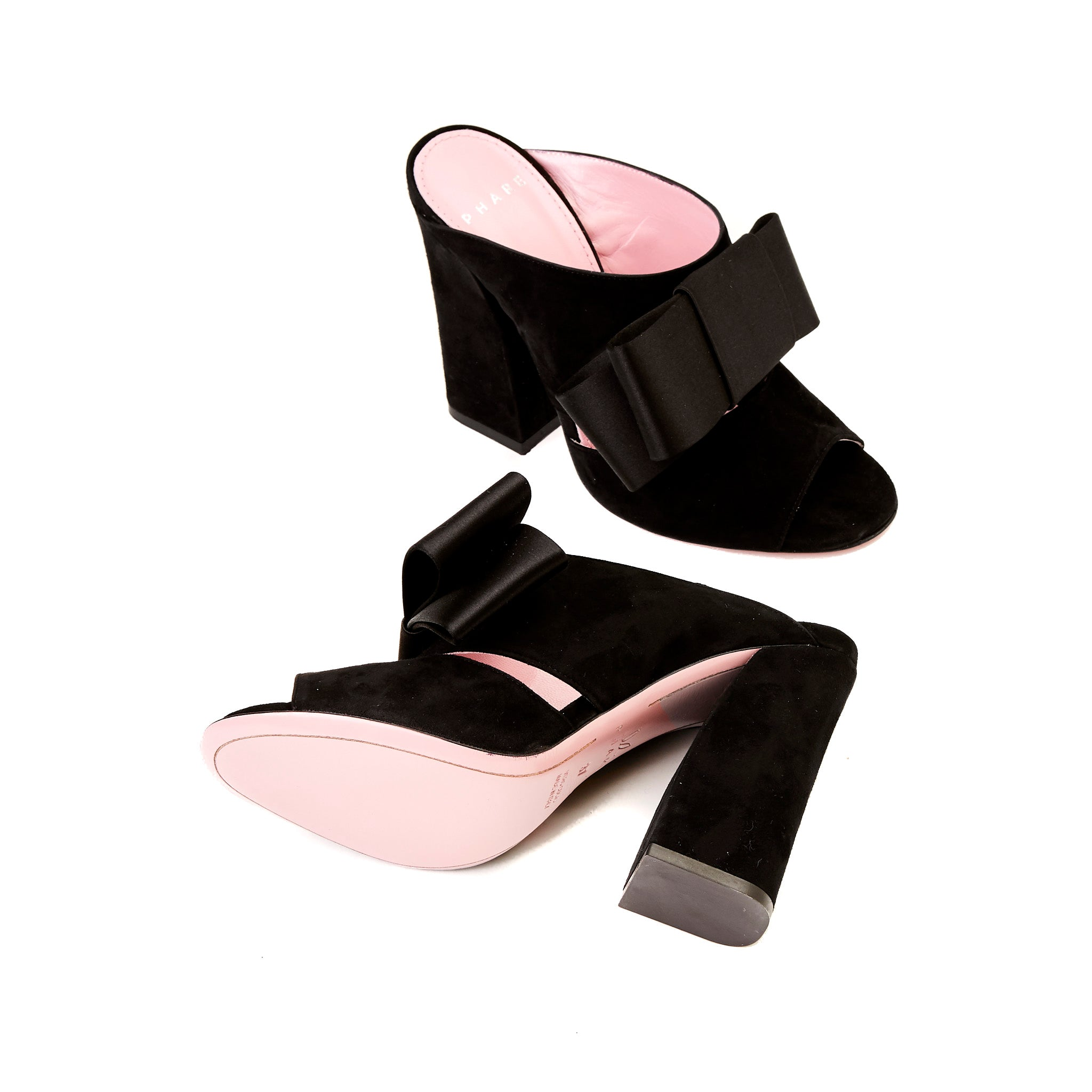 Phare High heel block heel mule with bow in black suede and satin back view