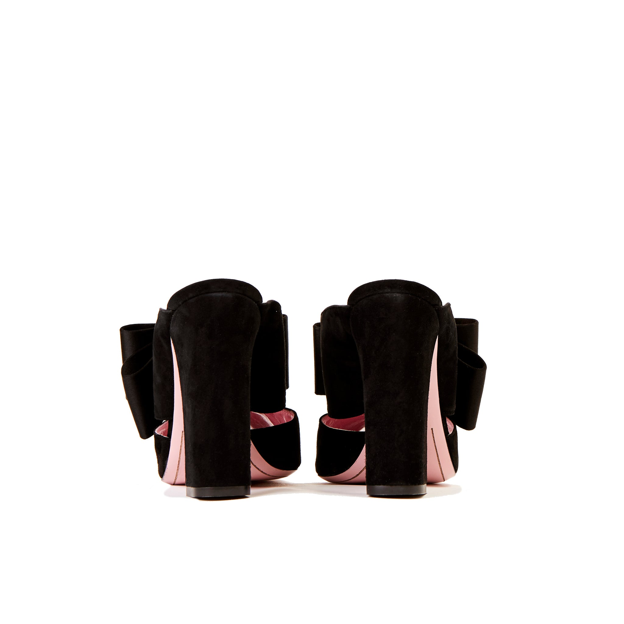 Phare High heel block heel mule with bow in black suede and satin top view