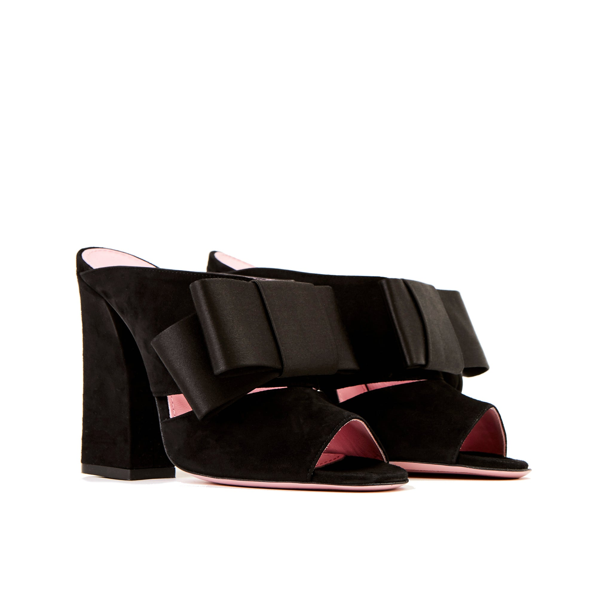 Phare High heel block heel mule with bow in black suede and satin 3/4 view