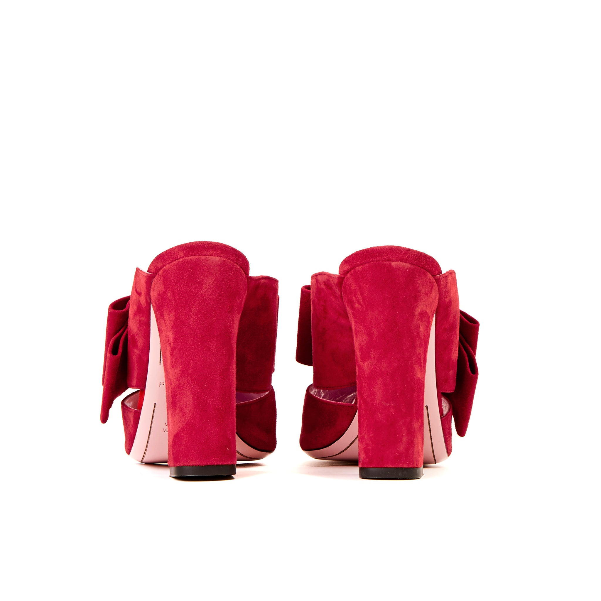 Phare High heel block heel mule with bow in rosso suede sole view