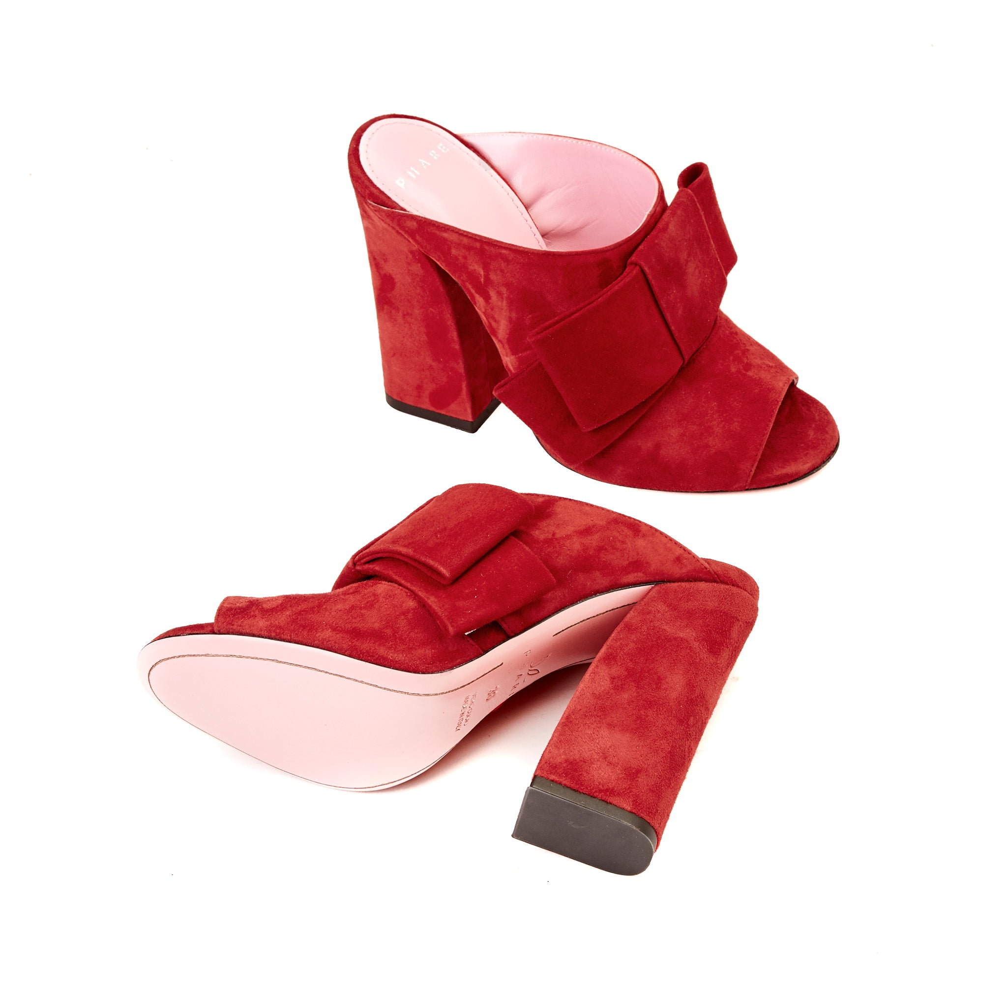 Phare High heel block heel mule with bow in rosso suede back view