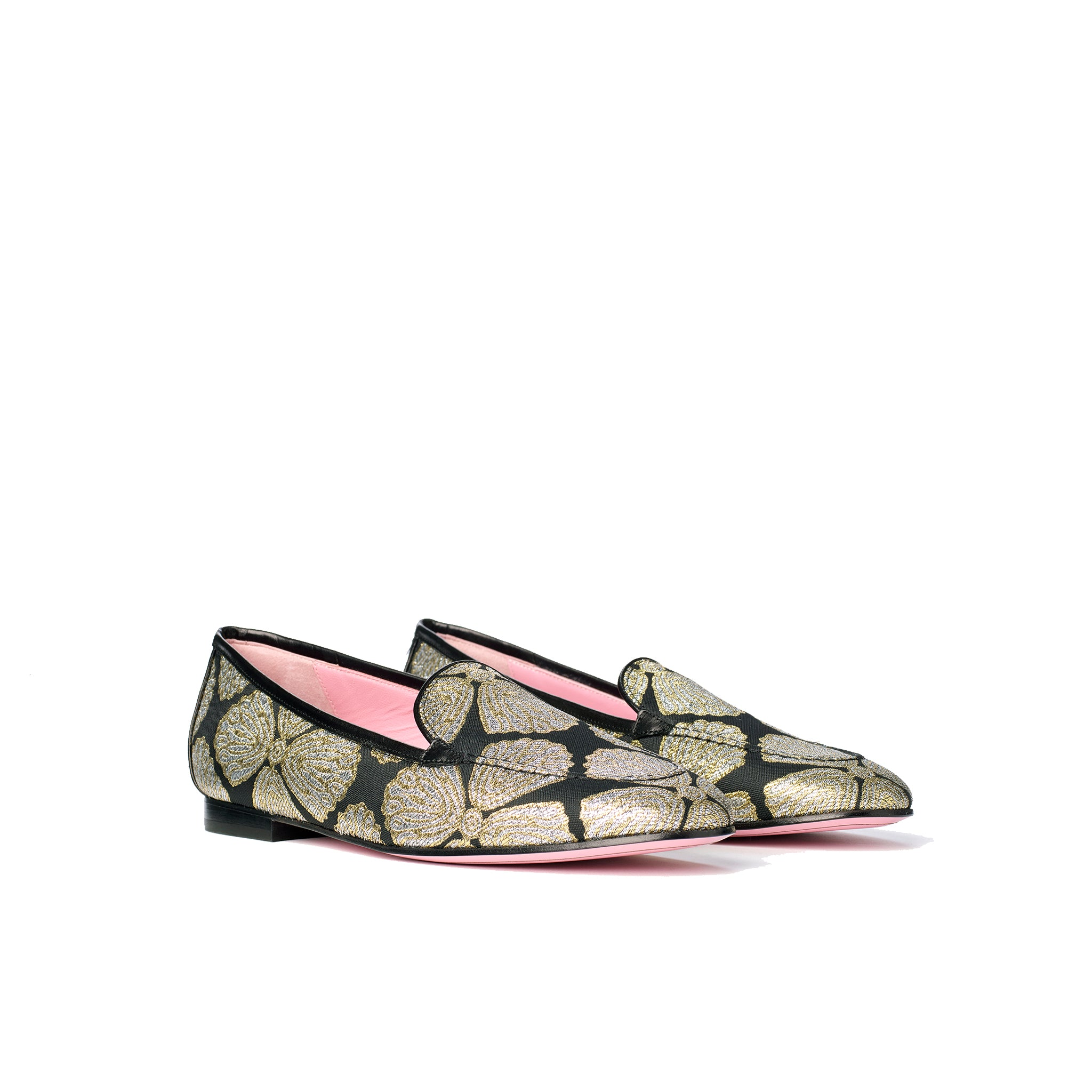 Phare classic loafer in metallic brocade 3/4 view