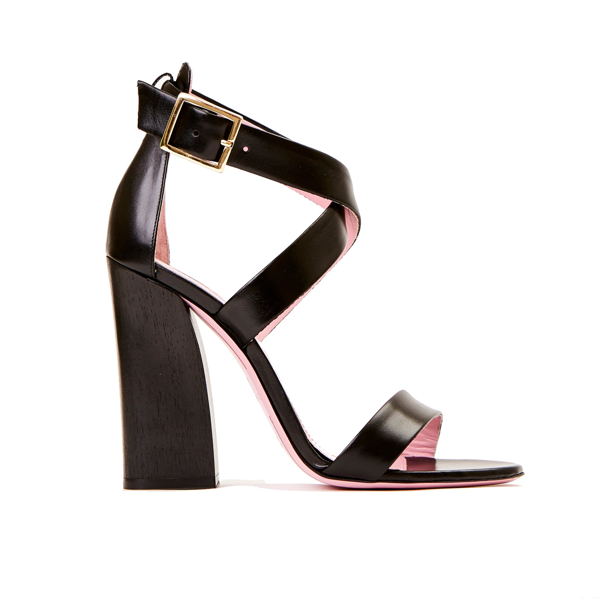 Phare Cross strap block heel sandal with wooden heel in black leather