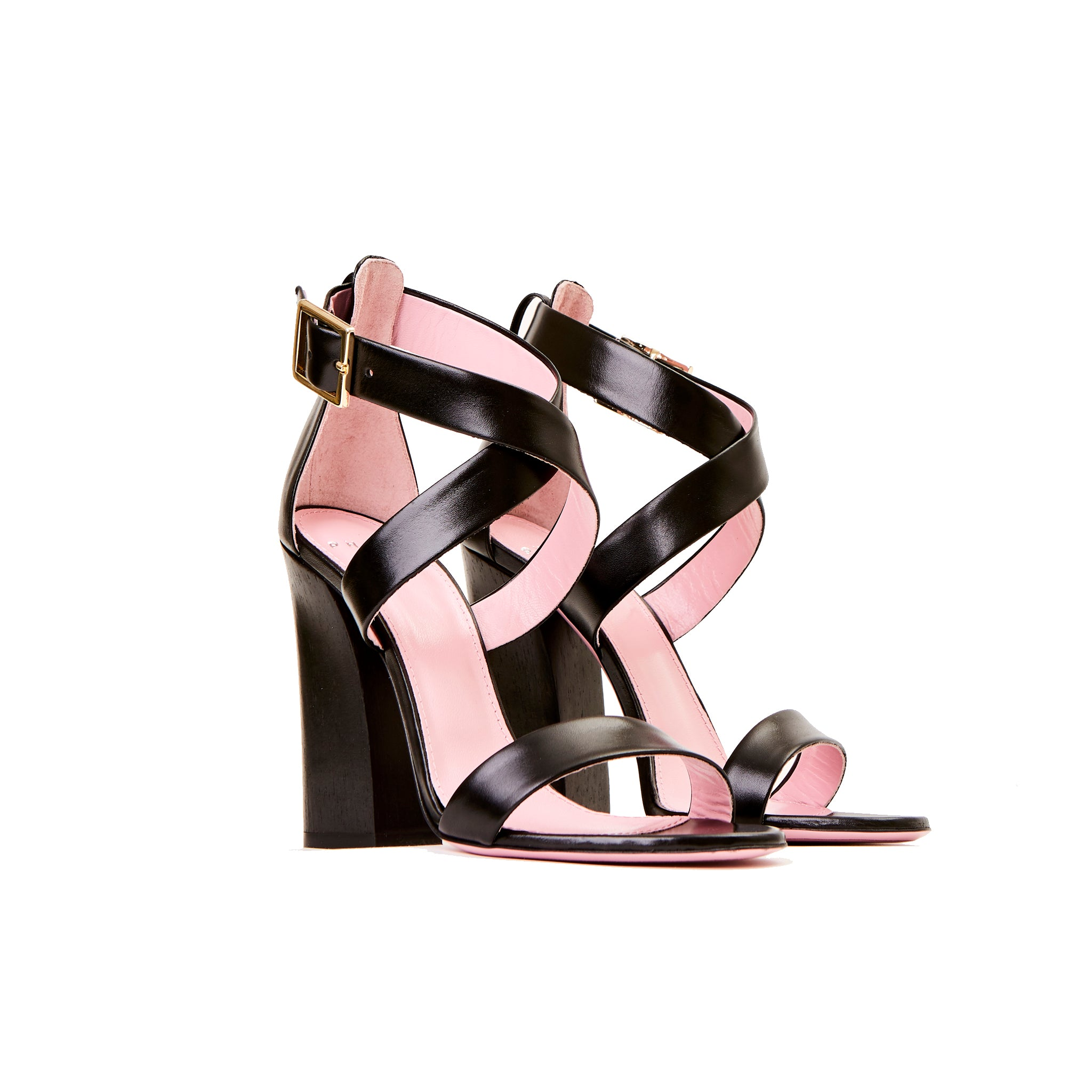 Phare Cross strap block heel sandal with wooden heel in black leather 3/4 view