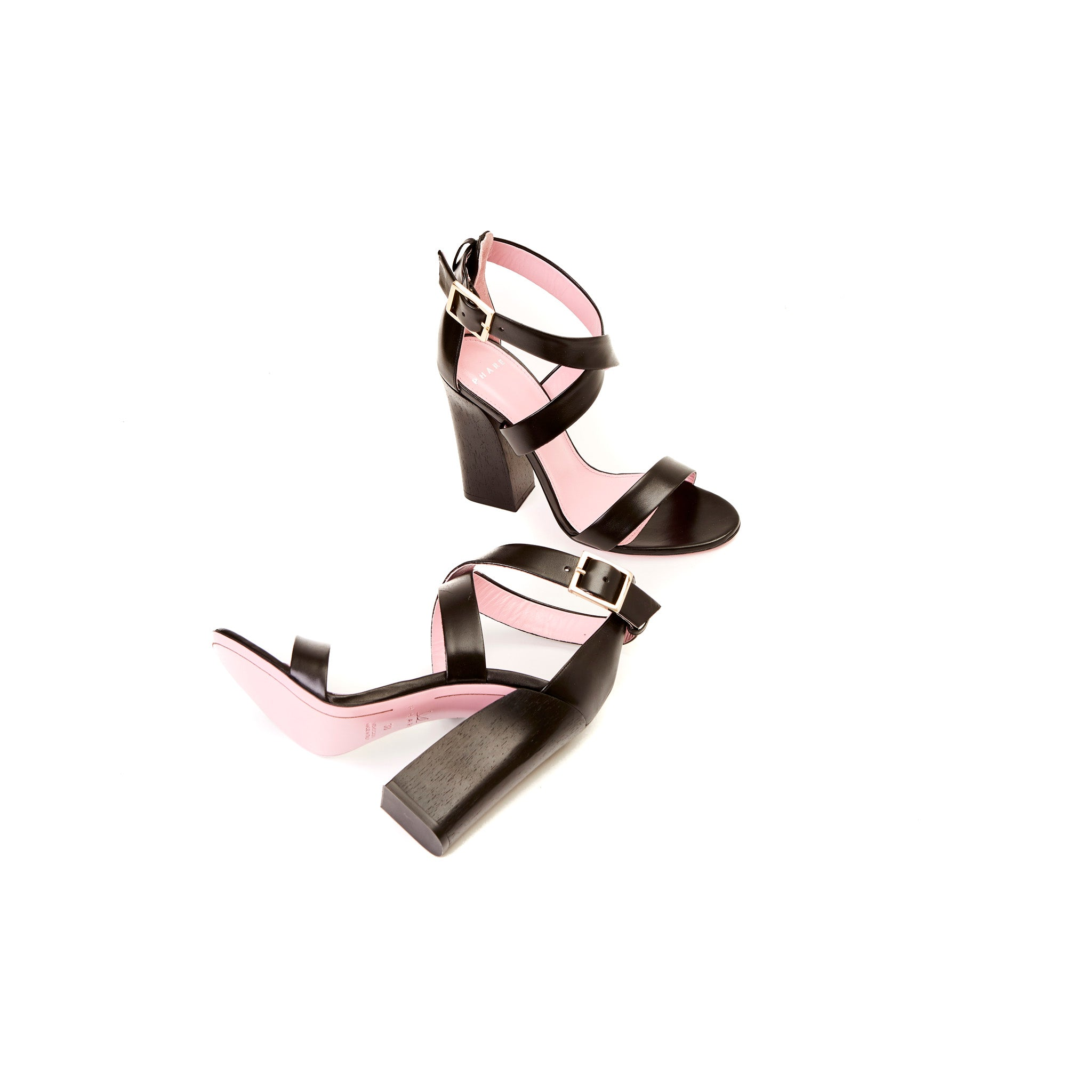 Cross Strap Block Heel Sandal
