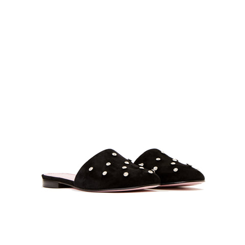 Phare crystal embellsihed slipper in black suede 3/4 view