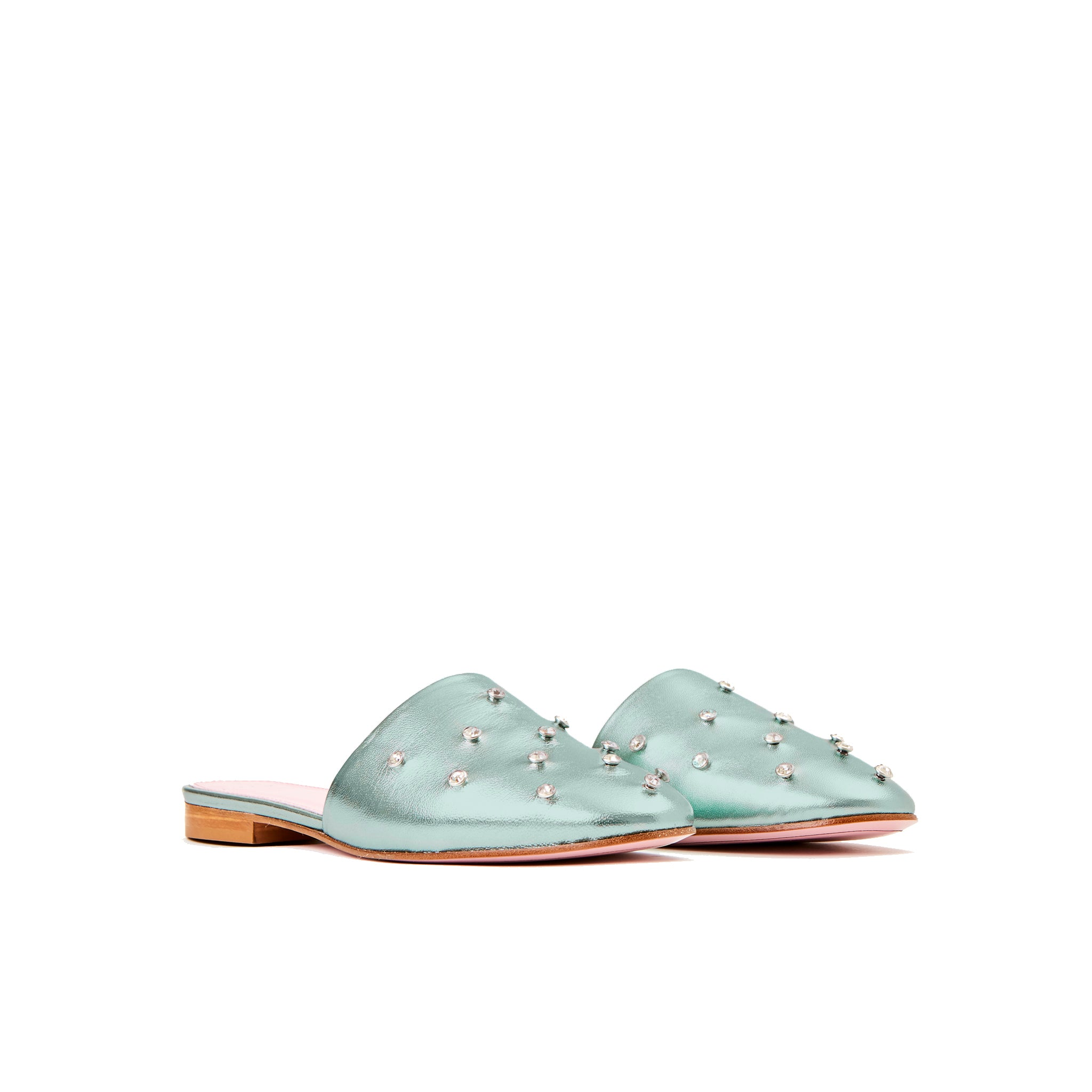 Phare crystal embellsihed slipper in acqua metallic leather 3/4 view
