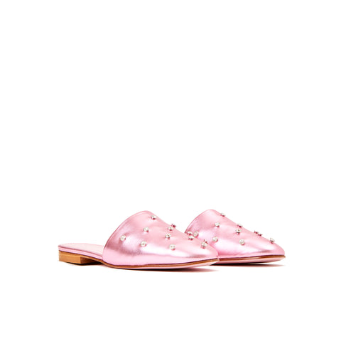 Phare crystal embellished slipper in rosa metallic leather 3/4 view