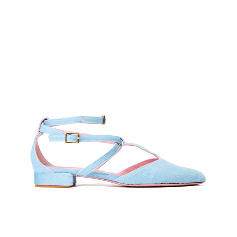 Phare ankle strap pointed flat in light blue pony hair