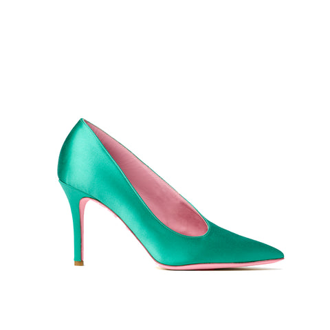 Phare seta asymmetrical pump in verde silk satin