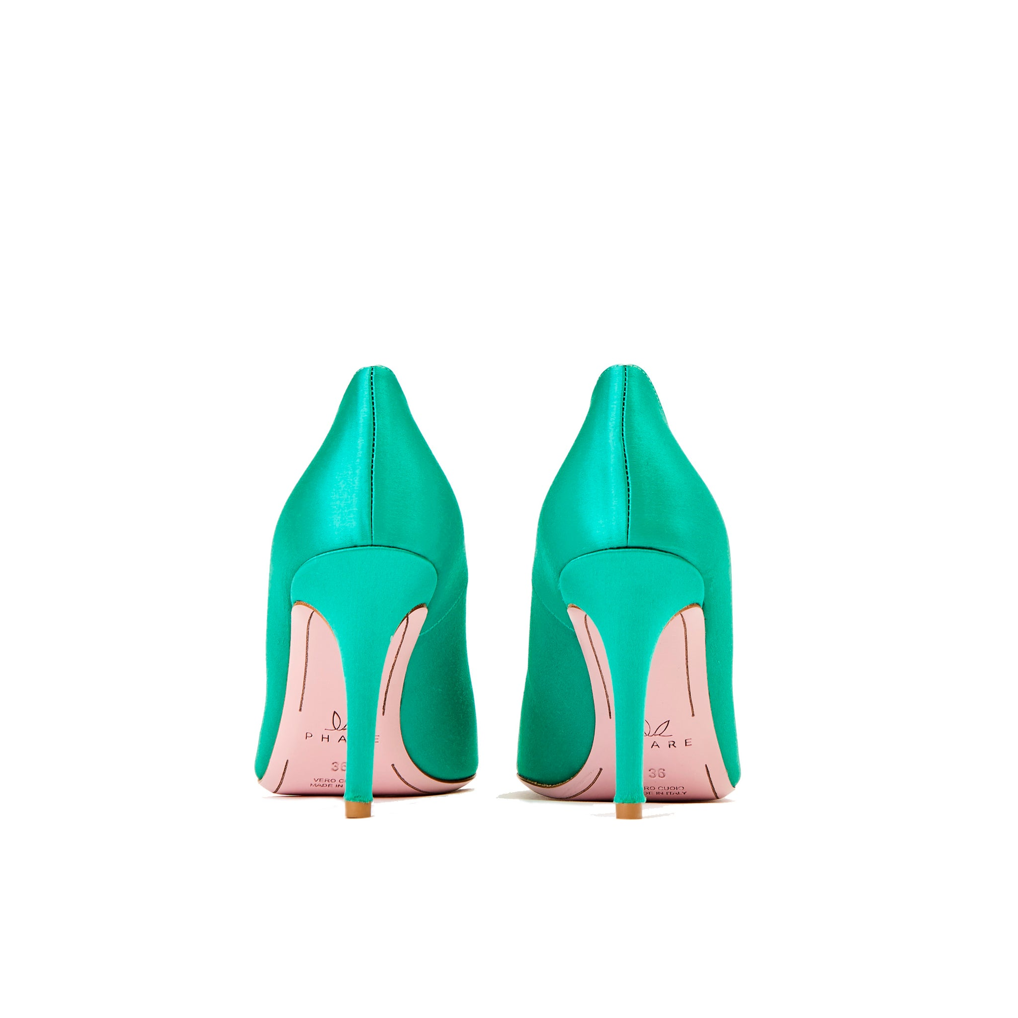 Phare seta asymmetrical pump in verde silk satin back view
