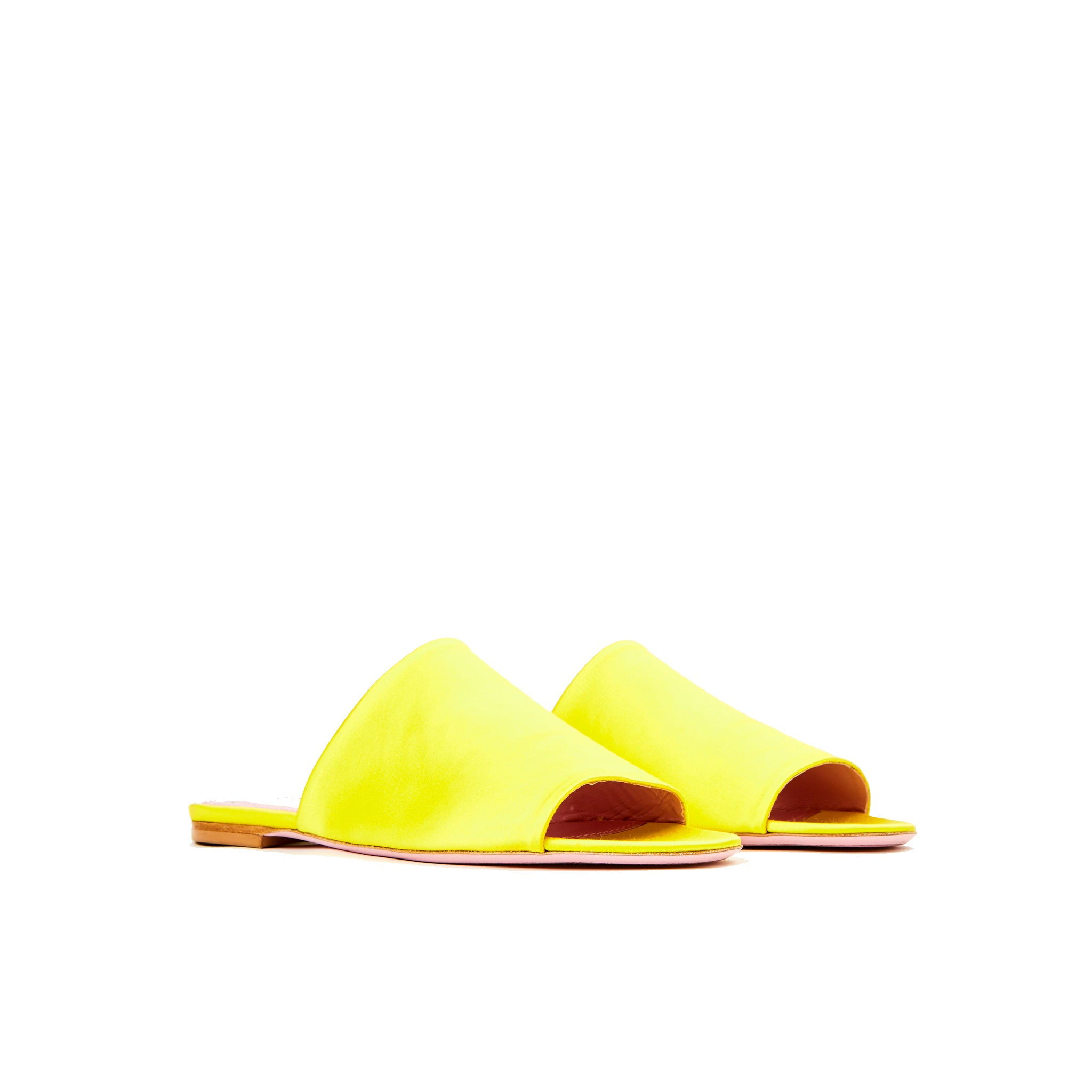 Phare seta slide in yellow silk satin 3/4 view