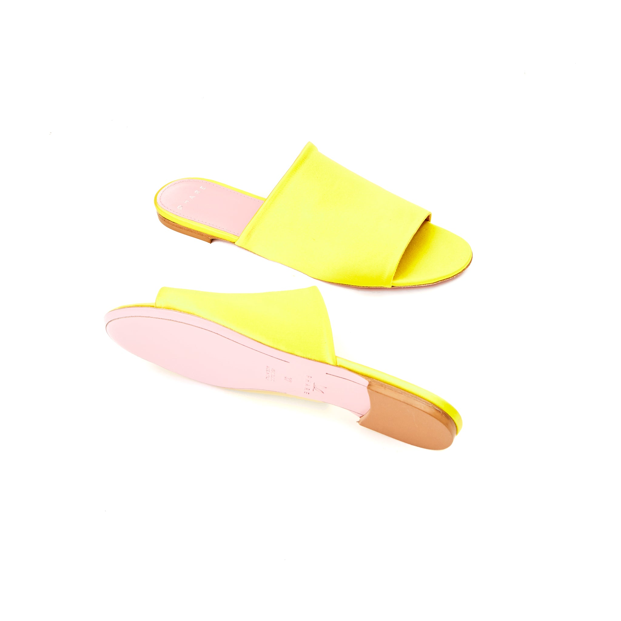 Phare seta slide in yellow silk satin sole view