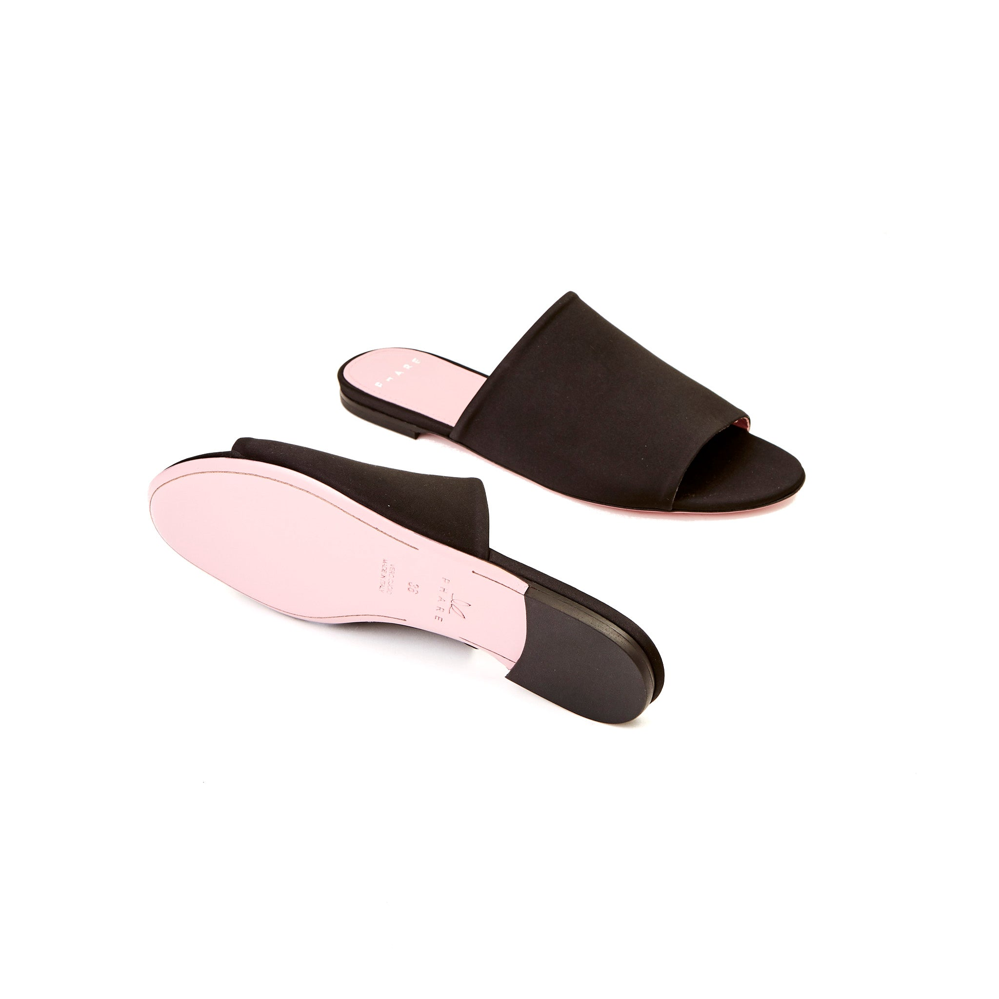 Phare Seta slide in black silk satin sole view