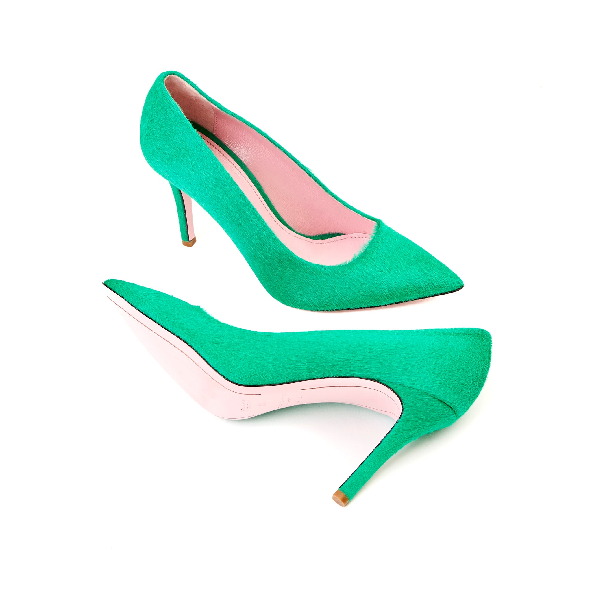 Phare slim heel pump in malachite pony hair sole view