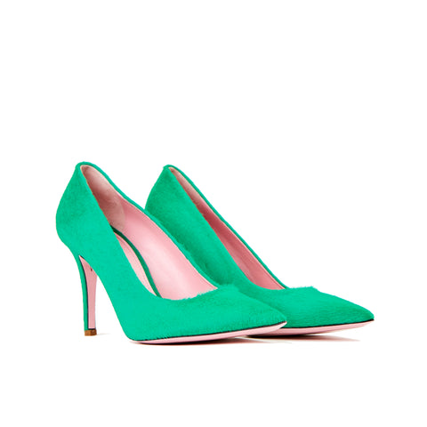 Phare slim heel pump in malachite pony hair 3/4 view