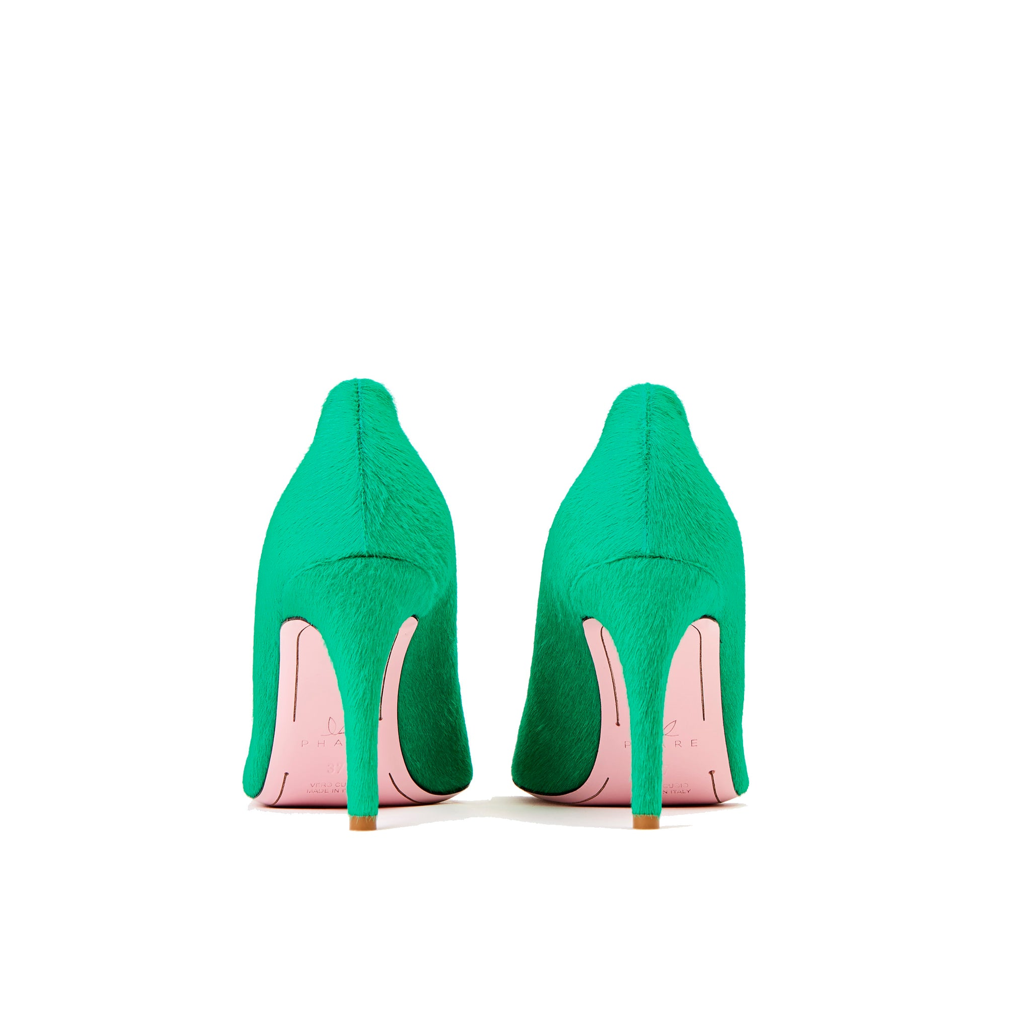 Phare slim heel pump in malachite pony hair back view