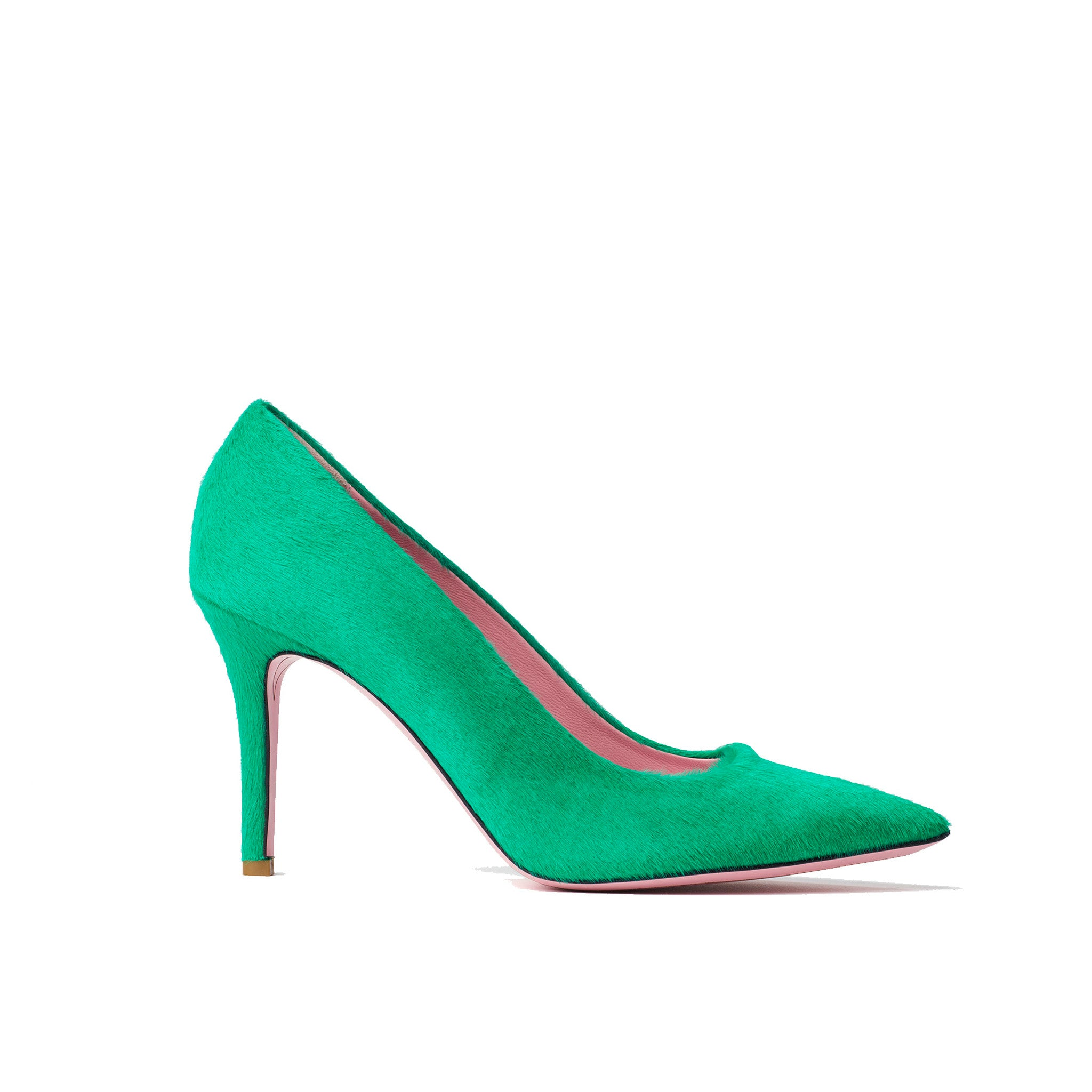 Phare slim heel pump in malachite pony hair