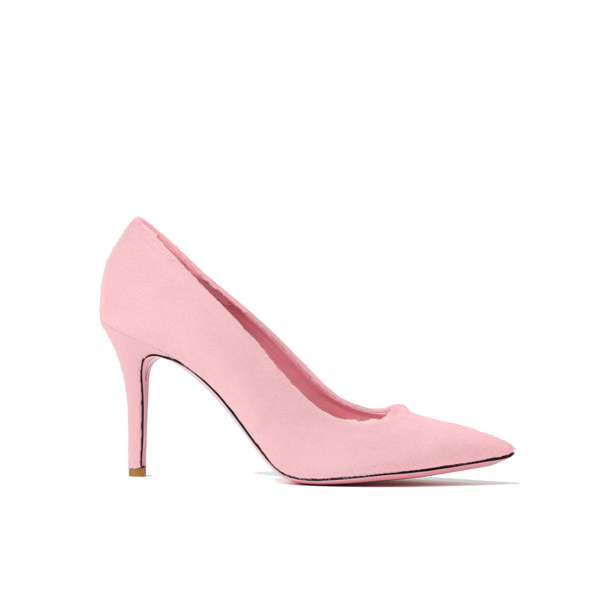 Phare slim heel pump in rosa pony hair
