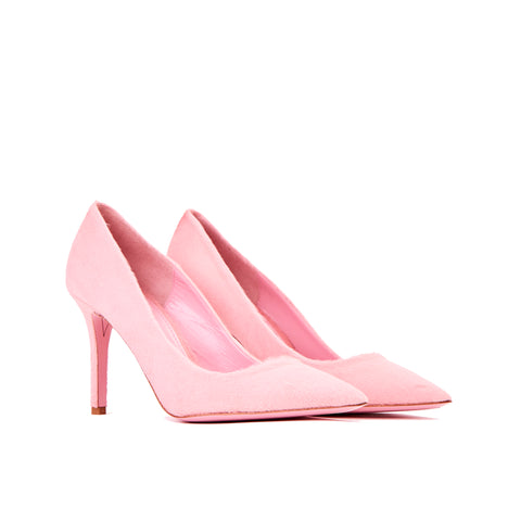 Phare slim heel pump in rosa pony hair 3/2 view