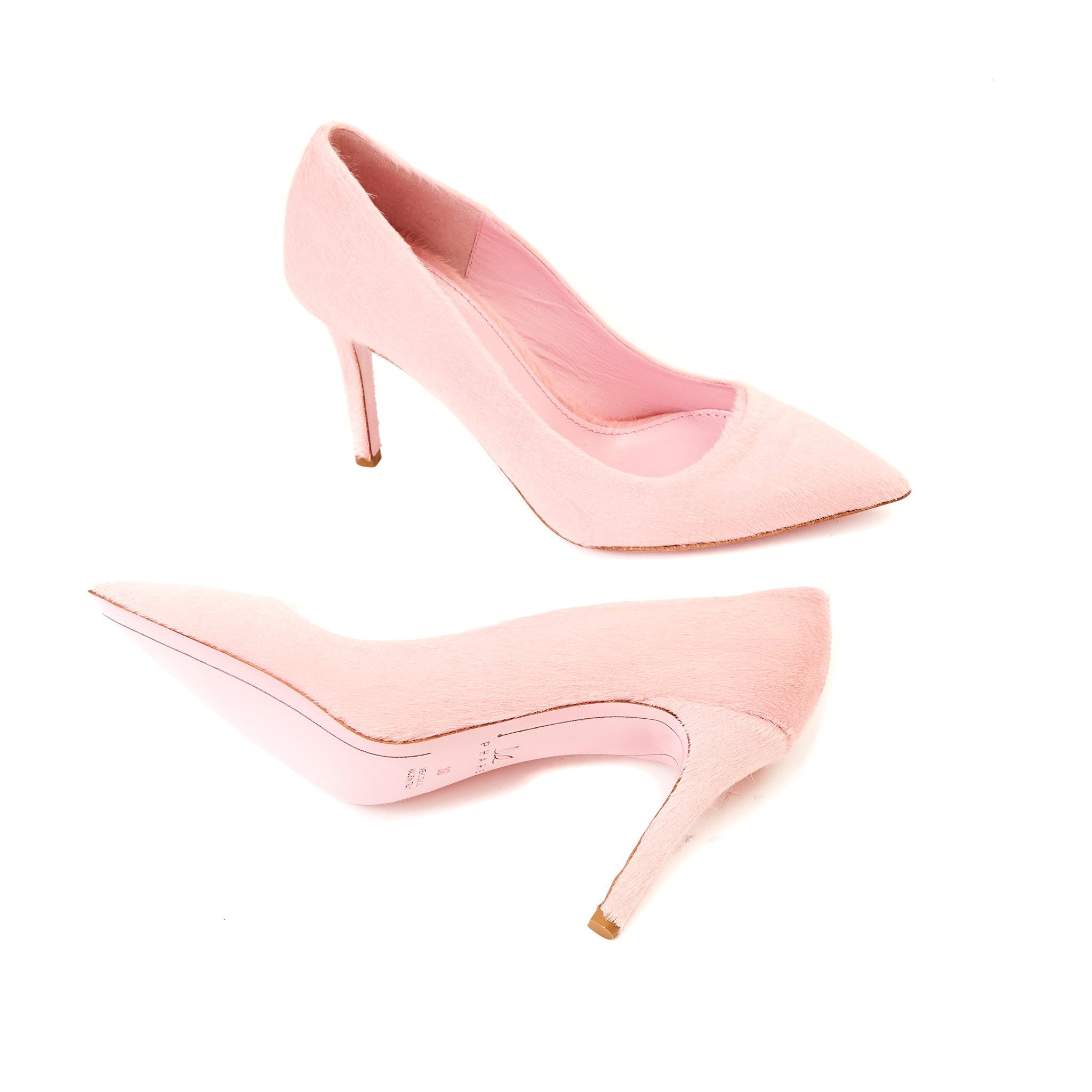 Phare slim heel pump in rosa pony hair sole view