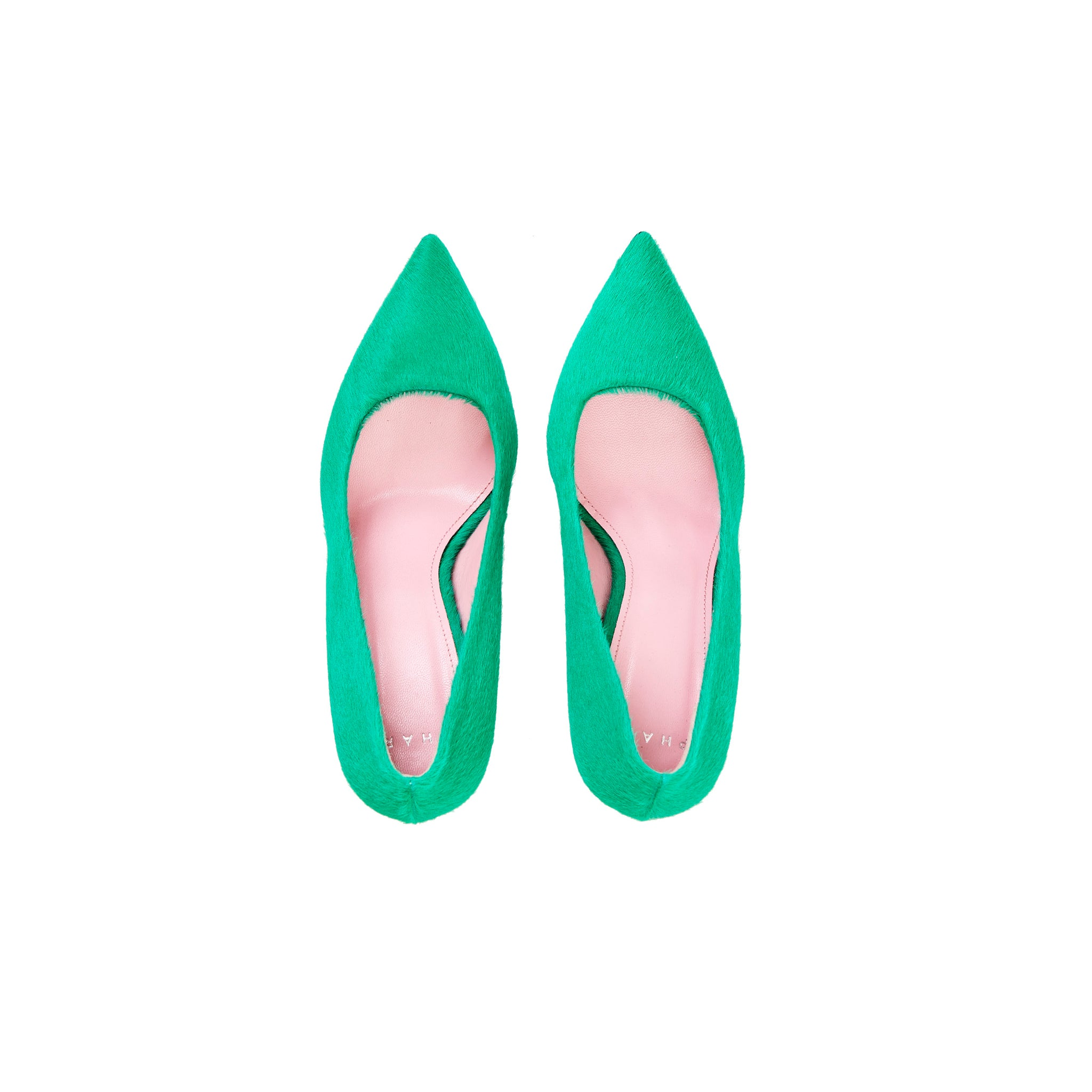 Phare slim heel pump in malachite pony hair top view