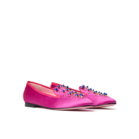 Phare Studded loafer in magenta silk satin with blue and gold studs 3/4 view