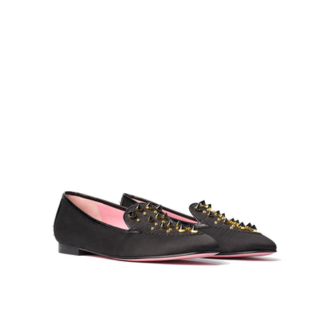 Phare studded loafer in black silk satin with black gold studs 3/4 view