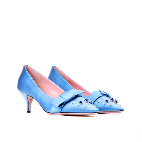 Phare studded kitten heel in blue silk satin  3/4 view